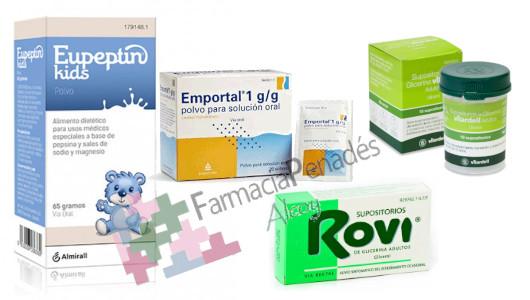 Laxantesosmóticos contra el estreñimiento puntual, supositorios de glicerina...