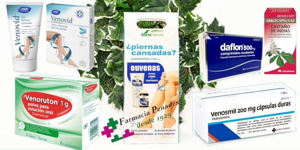 Medicamentos y complementos nutricionales para la Insuficiencia Venosa Crónica. Venoruton Venosmil Venovid Daflon Castaño de indias