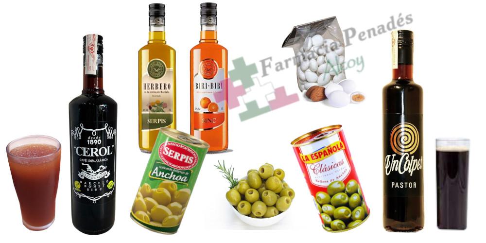 Los aperitivos más famosos de Alcoy Café Licor Cerol y Pastor mentireta plis-play aceitunas rellenas La Española y El Serpis Biri-biri y Herbero y peladillas